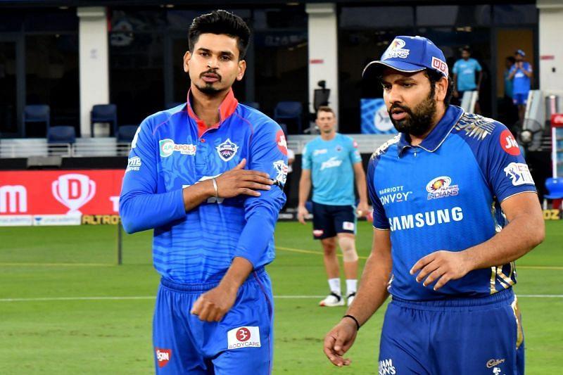 Shreyas Iyer (L) and Rohit Sharma (R) at the toss tonight (Credits: IPLT20.com)