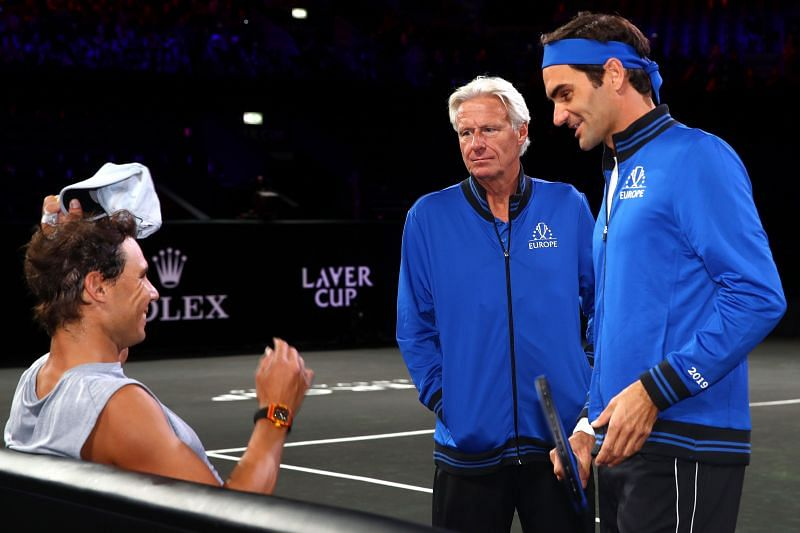 (L to R) Rafael Nadal, Roger Federer and Bjorn Borg at Laver Cup 2019