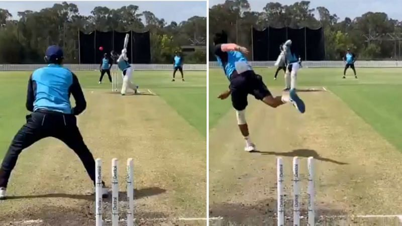 KL Rahul in action during the open nets session