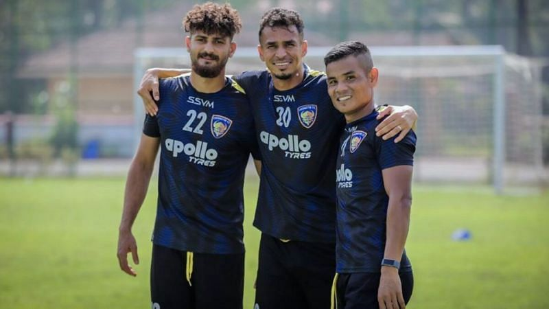 Chennaiyin FC players during a training session