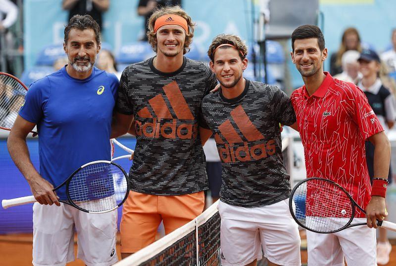 Nenad Zimonjic, Alexander Zverev, Dominic Thiem and Novak Djokovic at the Adria Tour