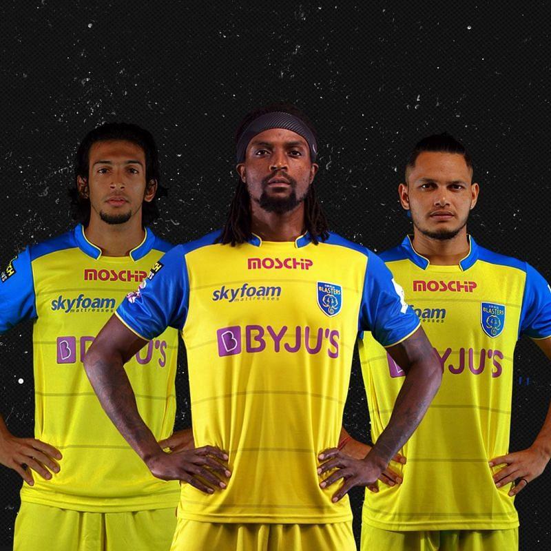 Kerala Blasters players styling the new jersey.