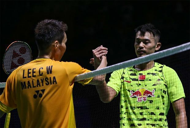 Lee Chong Wei (left) and Lin Dan after their 2015 China Open semifinal clash