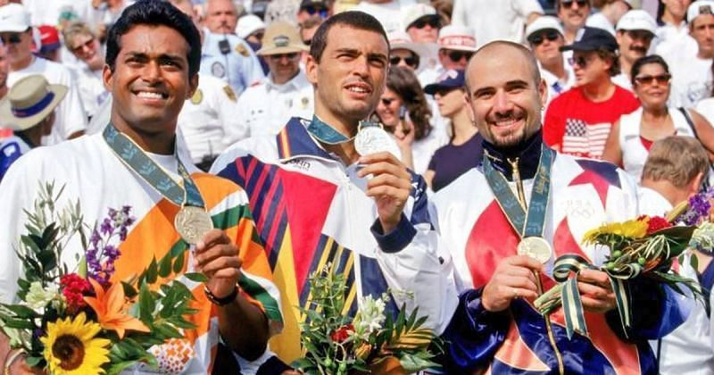 (From left): Leander Paes, Sergi Bruguera and Andre Agassi on the podium at the Atlanta Olympics
