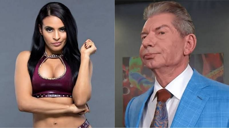 Zelina Vega (left) and Vince McMahon (right)