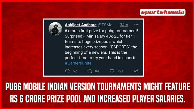 PUBG Mobile tournaments might feature prize pools above Rs 6 crore, and increased player salaries