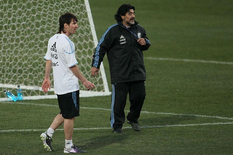 Messi and Maradona during Argentina training, 2010