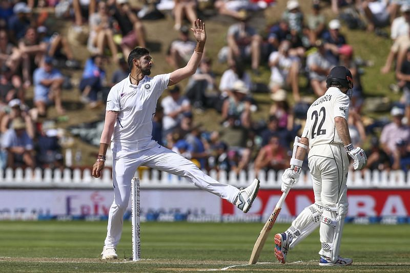 Ishant Sharma in action during the first Test against New Zealand