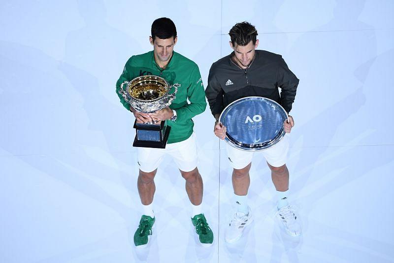 Novak Djokovic and Dominic Thiem at the 2020 Australian Open