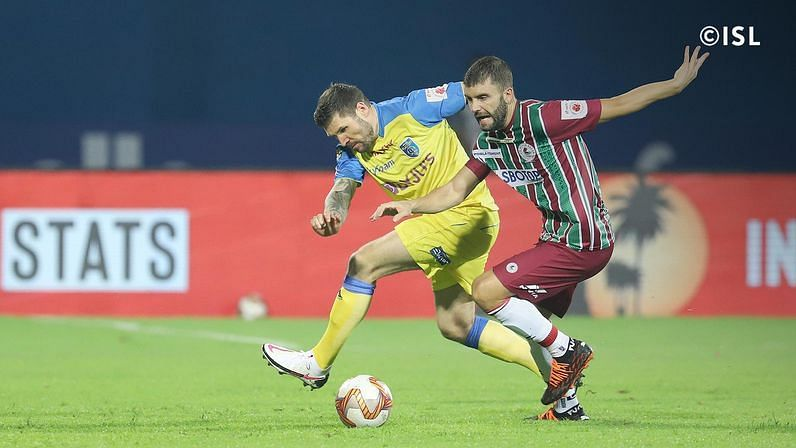 Javi Hernandez (R) ran the show in midfield against the Kerala Blasters (Credits: ISL) Roy Krishna popped up with the match winner for ATK Mohun Bagan (Credits: ISL)