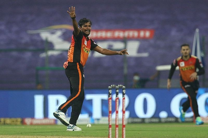 T Natarajan of Sunrisers Hyderabad celebrates a wicket (Image Credit: IPL)