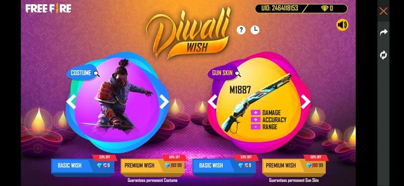 Diwali Wish event in Free Fire