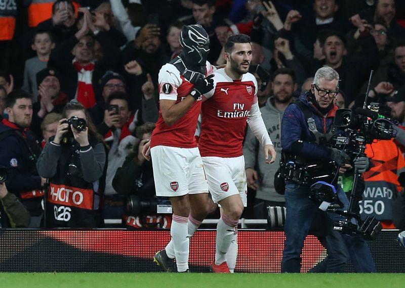 Arsenal striker Aubameyang doing his famous celebration