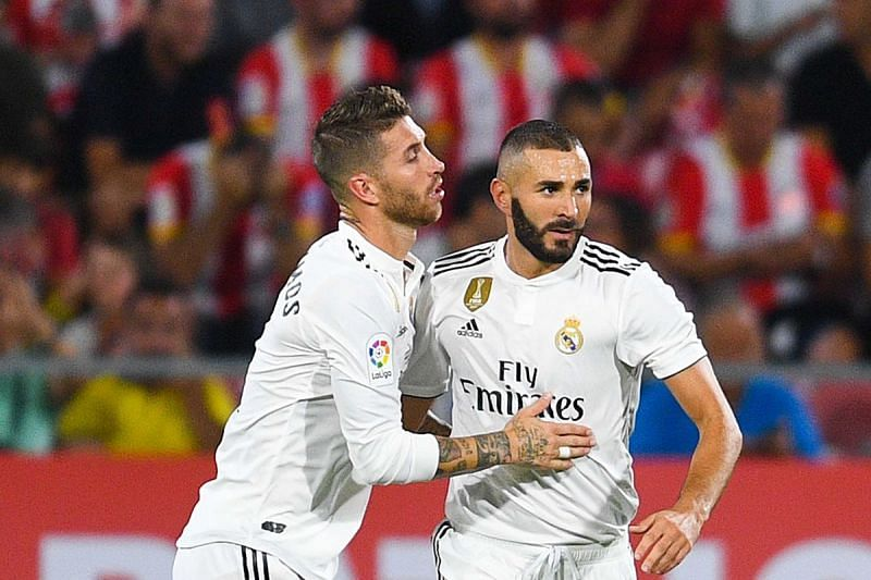 Real Madrid will be without Sergio Ramos (L) and Karim Benzema when they take on Inter Milan