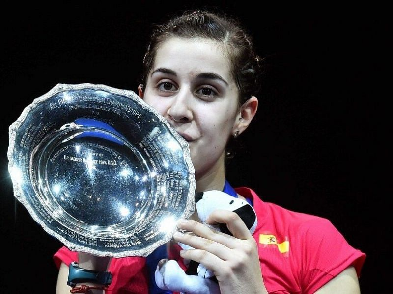 Carolina Marin with the All England Open trophy in 2015