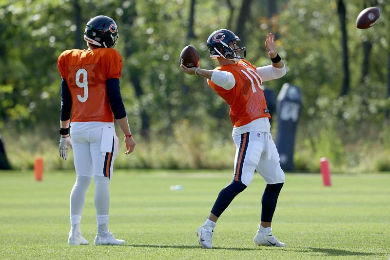 Chicago Bears QBs Nick Foles (#9) and Mitch Trubisky (#10)
