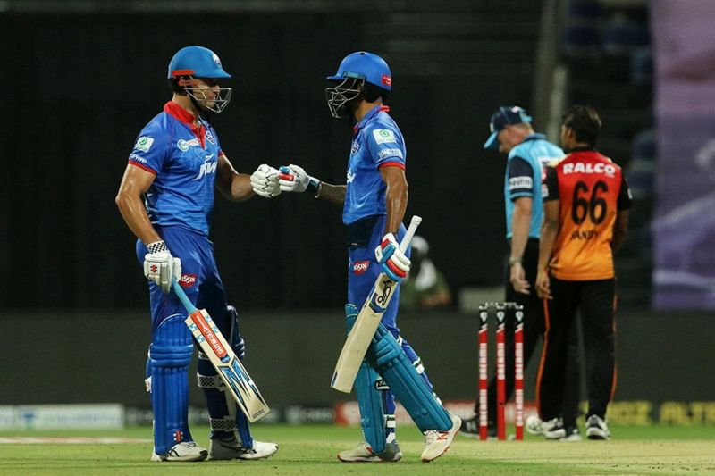 Marcus Stoinis and Shikhar Dhawan have provided the Delhi Capitals with a solid start in IPL 2020 Qualifier 2 (Image Credits: IPLT20.com)