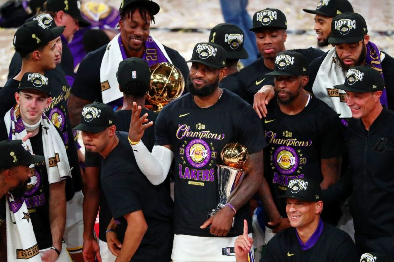 LA Lakers celebrating their 2020 NBA Championship