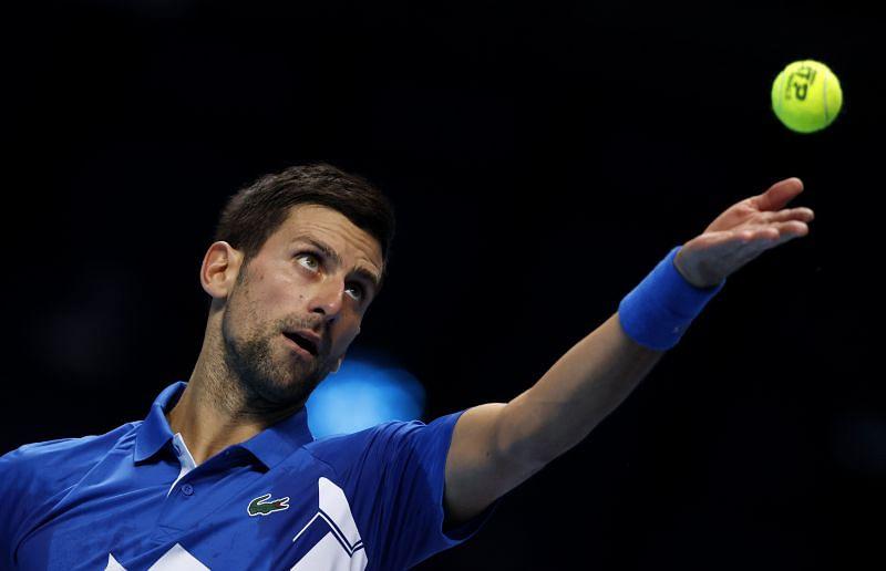 Novak Djokovic in action against Diego Schwartzman
