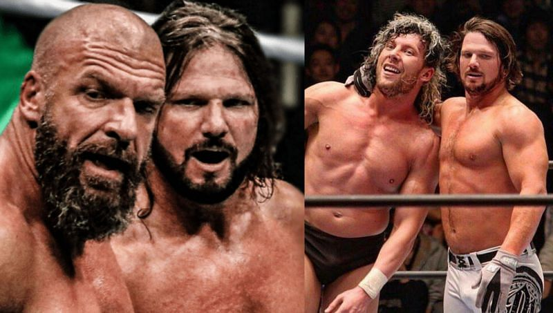 WWE veteran Triple H and AJ Styles; AJ Styles with No. 1 Contender for AEW Championship Kenny Omega