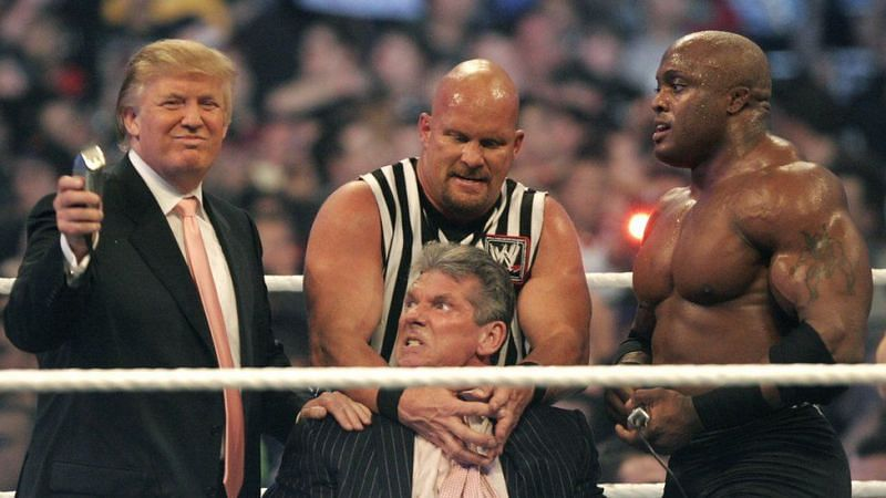 Donald Trump with Vince McMahon, Stone Cold Steve Austin and Bobby Lashley
