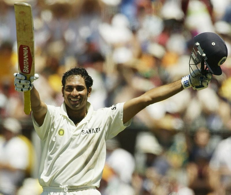 VVS Laxman celebrates a milestone Australia v India - 3rd Test: Day 2
