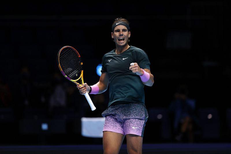 Rafael Nadal exults after beating Stefanos Tsitsipas.