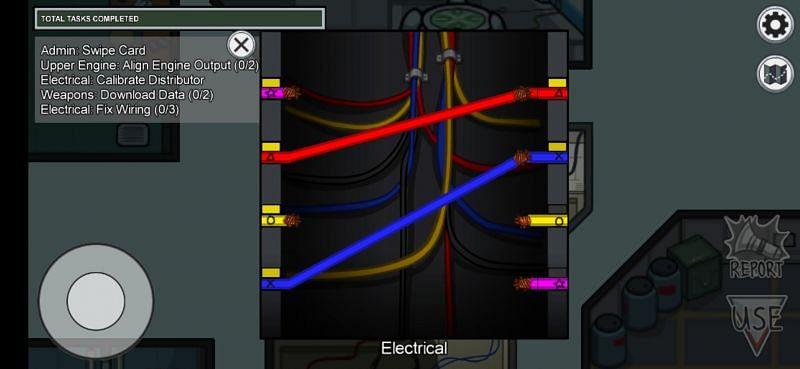 Electrical fix wiring task in The Skeld