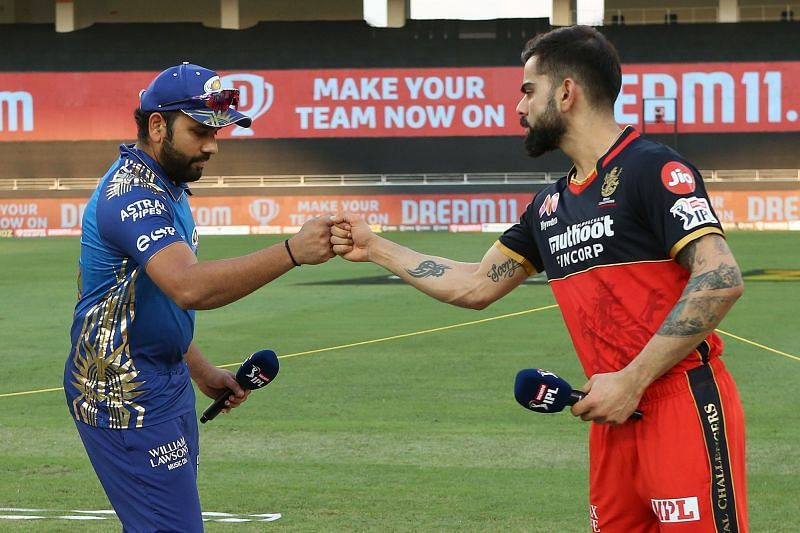 Virat Kohli (R) will play the IPL 2020 Eliminator while Rohit Sharma (L) will feature in Qualifier 1 (Credits: IPLT20.com)