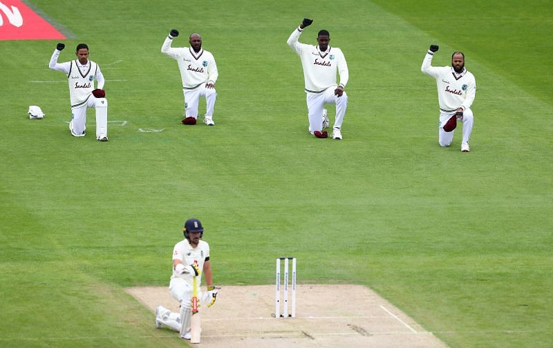Jason Holder and co. took a knee in support of the BLM movement during Day 1 of the second England-West Indies Test.
