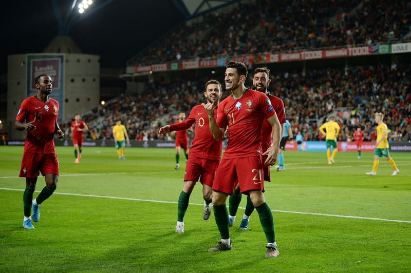 Pizzi celebrates after scoring for Portugal against Lithuania