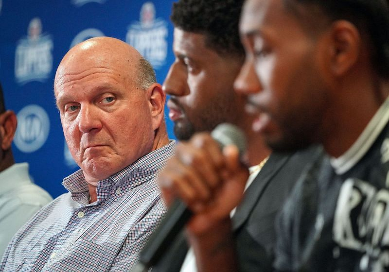 LA Clippers owner, Steve Ballmer with players Paul George and Kawhi Leonard