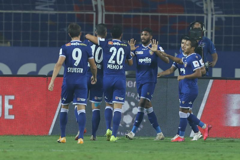 Chennaiyin FC players celebrate a goal (Image Courtesy: ISL Media)