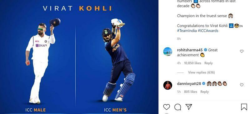 Rohit Sharma congratulates Virat Kohli. Pic: Indian cricket team/ Instagram
