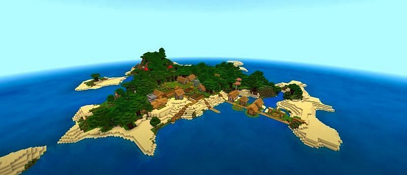 A medium-sized Minecraft island populated with a village, dark oak trees, and a few huge mushrooms (Image via Minecraft & Chill/YouTube)