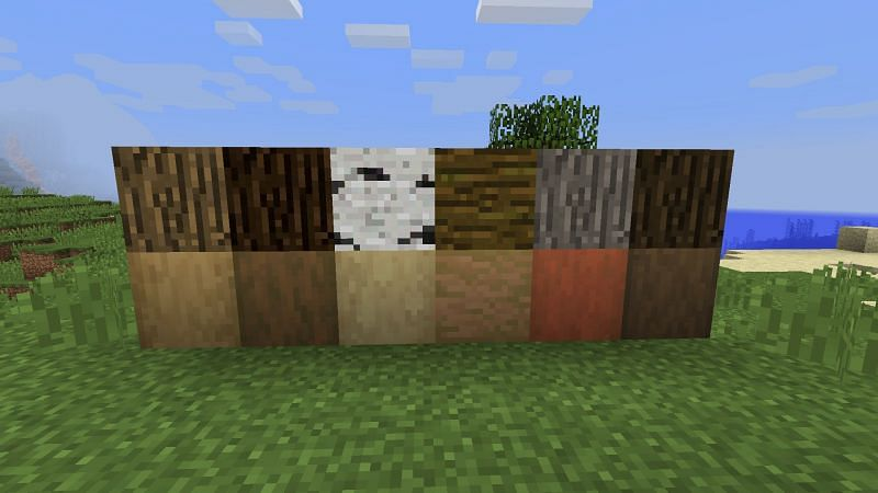 A collection of wood log variants compared to their stripped wood variations in Minecraft. (Image u/Saeka/reddit.com)