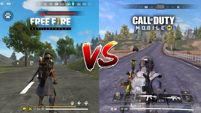 Free Fire vs COD Mobile. Image via Falcao Gaming (YouTube)