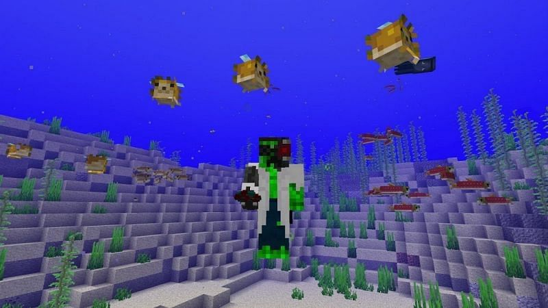 "Minecraft players earn the ""I am a Marine Biologist"" achievement once they successfully collect a fish with a bucket (Image via docm77/YouTube)"