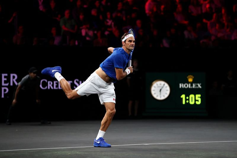 Roger Federer in action at the 2019 Laver Cup