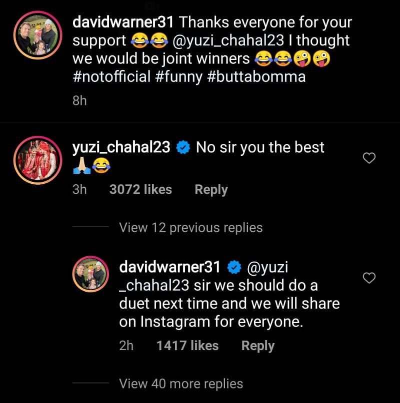 David Warner and Yuzvendra Chahal