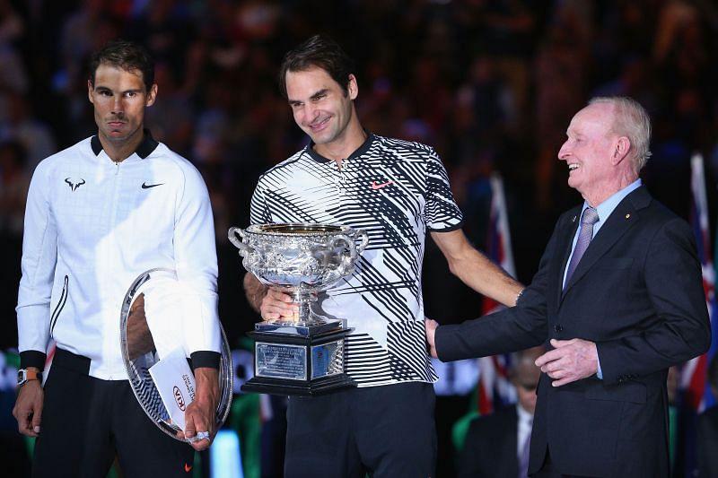 Rafael Nadal (L) and Roger Federer at Australian Open 2017