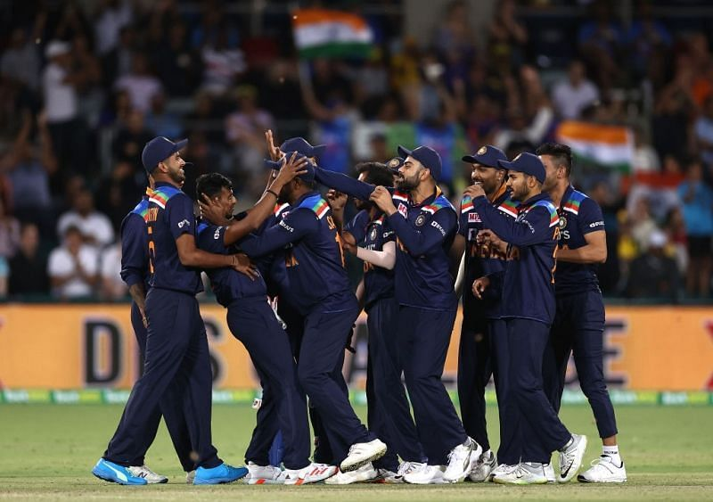 T. Natarajan celebrates a wicket with teammates. Pic: ICC/Twitter