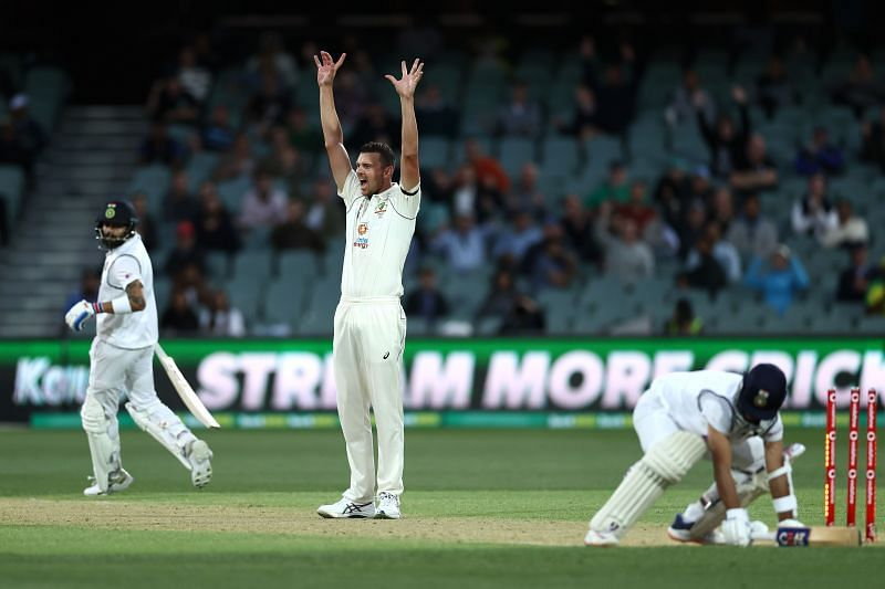 Josh Hazlewood during the first Test at Adelaide Oval