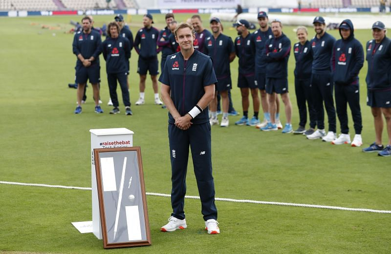 Stuart Broad of England is presented with an award for reaching 500 Test Match wickets