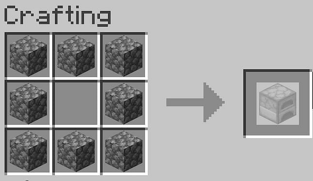 Place eight pieces of cobblestone around the outside perimeter of the crafting GUI