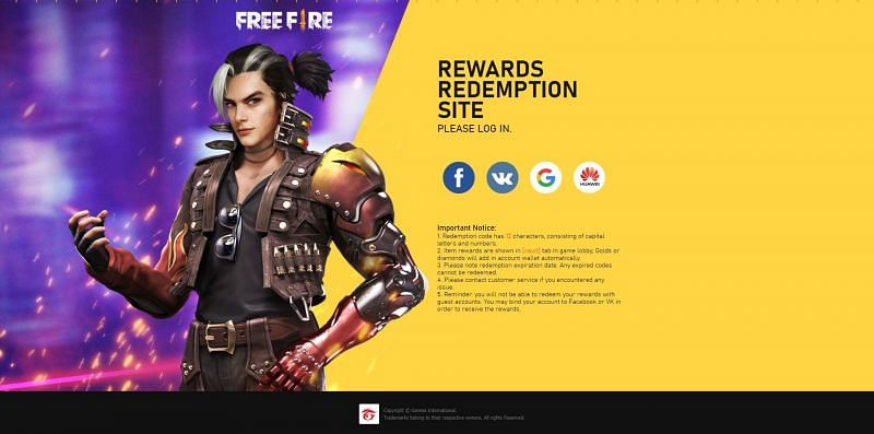 Log in to the Free Fire account.