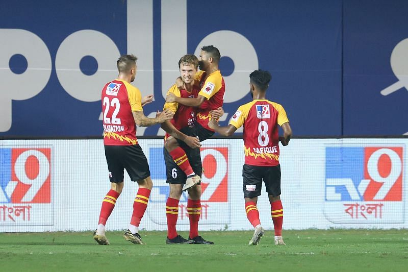SC East Bengal players celebrate a goal (Image courtesy: ISL)