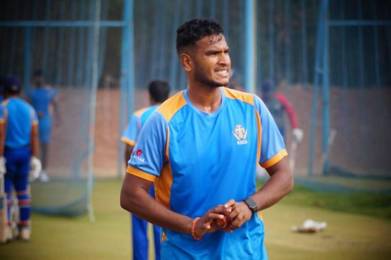 Vyshak Vijaykumar during a practice session