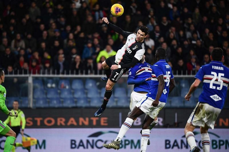 Cristiano Ronaldo leaps above everyone to score a stunning header