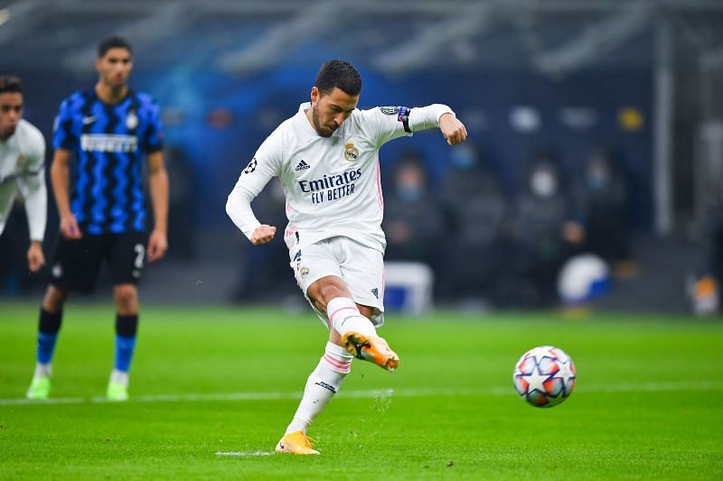 Real Madrid star Eden Hazard in action